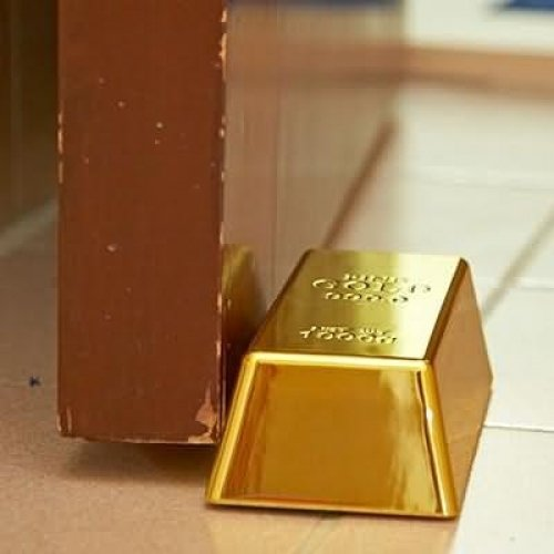 Gold Bar Paperweight Doorstop