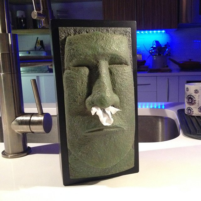 Tiki Head Tissue Box