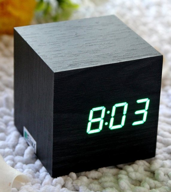 Wood LED Alarm Clock